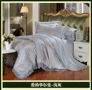 King Size Bedding Sets Silver Luxury Brand Silver Grey Lace Satin Jacquard Bedding Sets