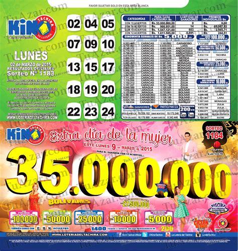 loteria kino tachira sorteo nro 1231 tuazar loter 237 a kino t 225 chira sorteo nro 1183 listado 171 tuazar