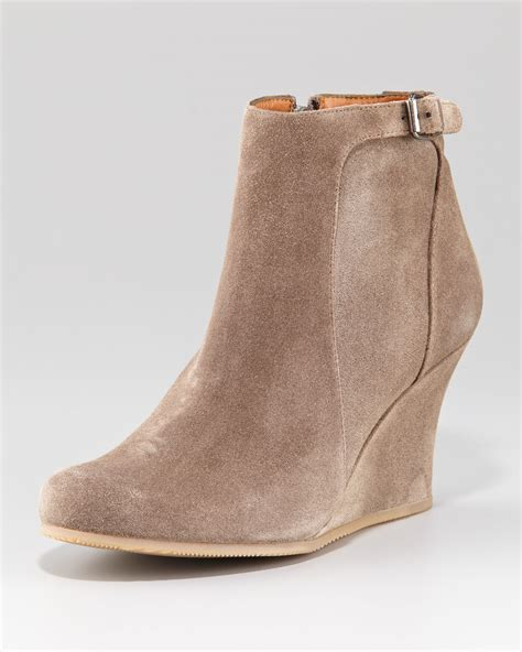 Wedges Boot 1 lanvin suede wedge ankle boot in lyst