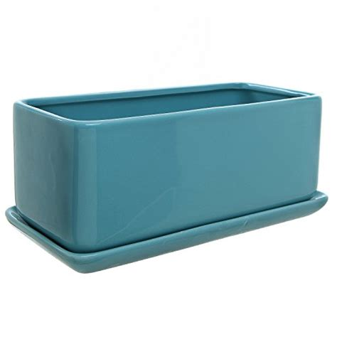 10 Inch Rectangular Modern Minimalist Turquoise Ceramic Rectangular Ceramic Planter