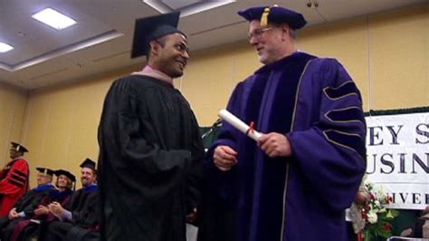 Mba And Health Humanities Misericordia by Burn Victim Graduates With An Mba Cnn