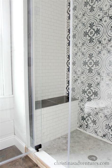 glass doors built in bench walk in shower design christinas adventures