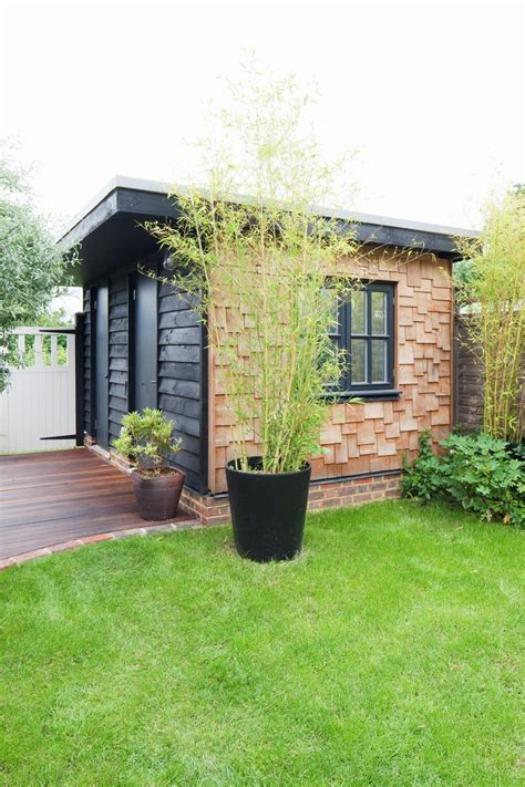 flat roof garden shed office timber cladding