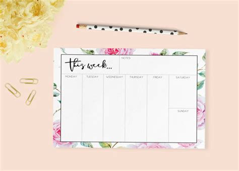 printable planner pad pages printable weekly planner weekly planner desk pad weekly