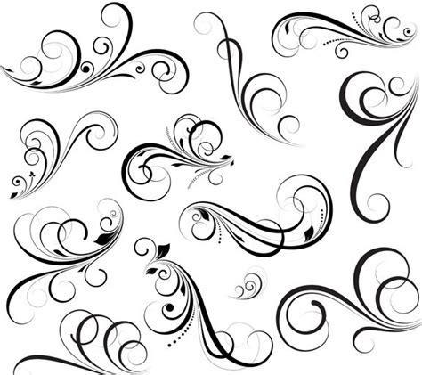 pattern swirl vector free flourish swirl floral corner patterns vector 01 titanui
