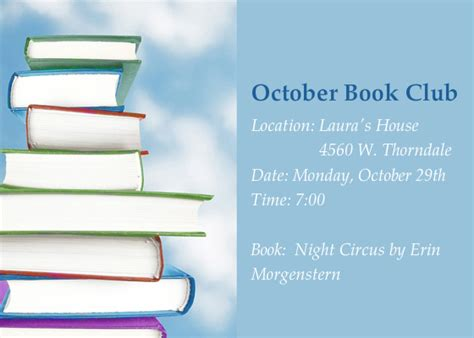 book club invitation template october book club invitations cards by pingg