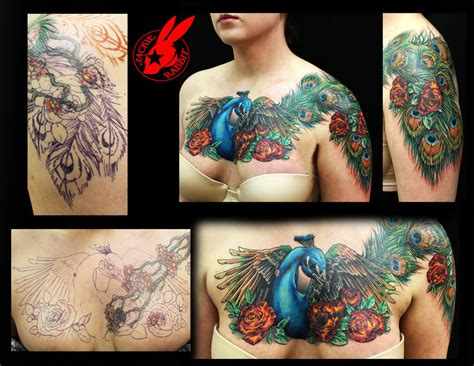 tattoo nightmares peacock peacock feather cover up tattoo by jackie rabbit by