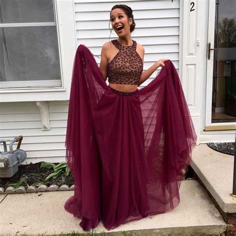 burgundy color prom dress two pieces burgundy prom dresses 2017 tulle prom dresses