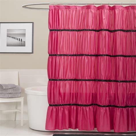 ruffle shower curtain pink urban outfitters pink ruffle shower curtain affordable