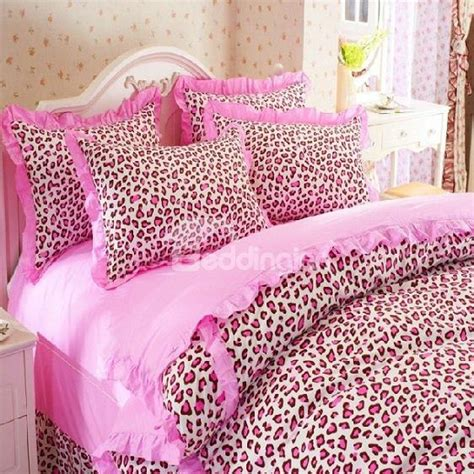 Cute Pink Leopard Print 4 Piece Bedding Sets Duvet Cover Pink Cheetah Print Bed Set