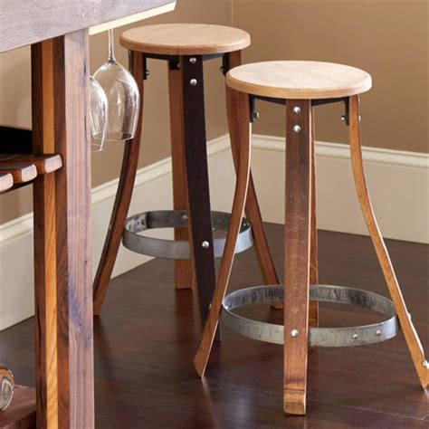 Barrel Stave Stools by Barrel Stave Console And 2 Pub Stools Set