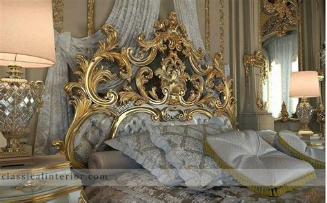 » Royal Gold Bedroom Set Carved With King Size BedTop and