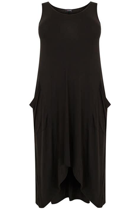 black dip back drape pocket sleeveless dress