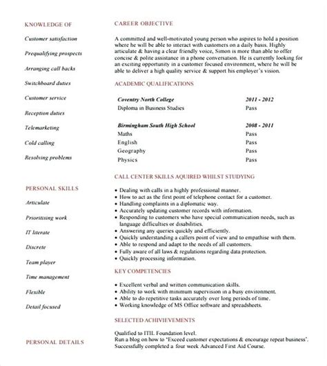 sle objective in resume for call center without experience resume format for bpo resume exles 2017 10000
