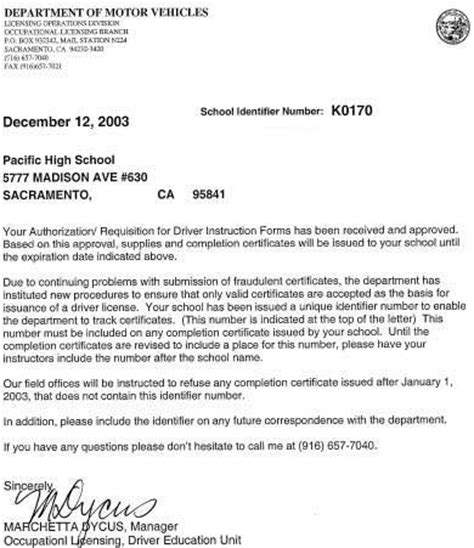 Acceptance Letter For Course California Driver Education California Home Study Driver Ed Course