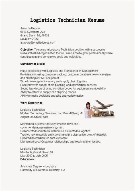 resume sles logistics technician resume sle