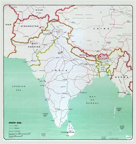 map of cities in asia large map of south asia with major cities roads and