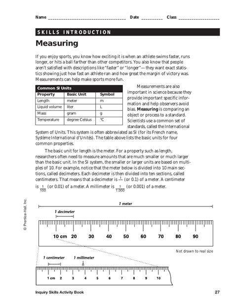 Skills Worksheet Answer Key by Measuring Packet