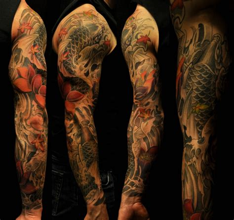 grey sleeve tattoo designs koi fish black and white sleeve