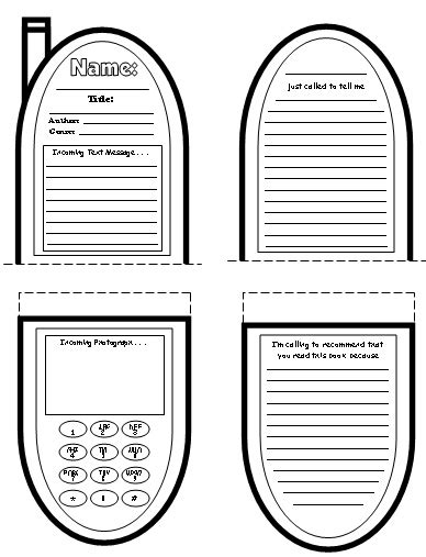 cell phone book report project templates worksheets