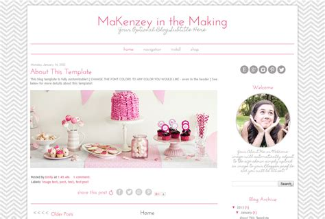 template themes premade template simple pink and grey template