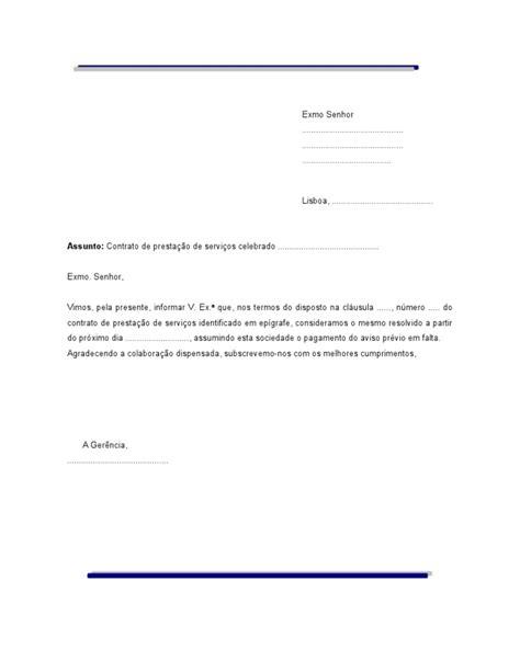 carta formal termino de contrato carta de rescisao de contrato