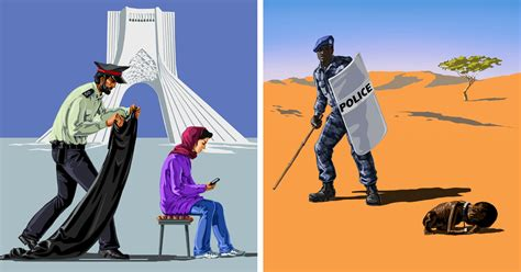 16 Satirical Illustrations Of Police Officers Around The World