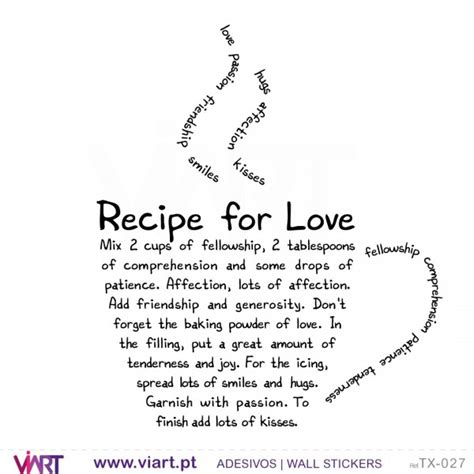 Wall Sayings Stickers recipe for love wall stickers vinyl decoration viart