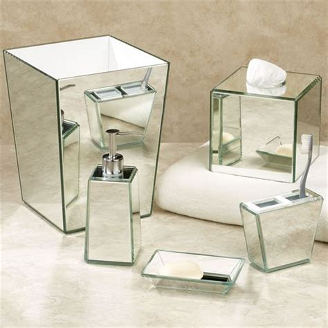 Crystal Mirror Bath Accessories Mirrored Bathroom Accessories