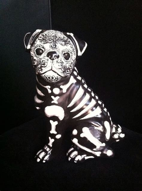 sugar skull pug large day of the dead painted sugar skull statue pug figurine ooak original the