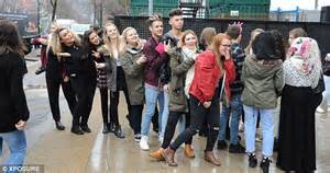 all the girls waiting in line for the bathroom x factor s stereo kicks jake sims celebrates birthday with fleur east and lauren