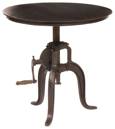 rockwell crank adjustable side table industrial side