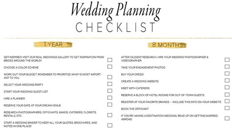 Printable Wedding Checklist With Timeline by 11 Free Printable Checklists For Your Wedding Timeline