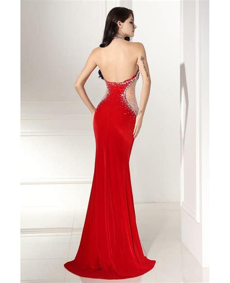 beaded halter prom dress beaded halter sleek prom formal gown sweep