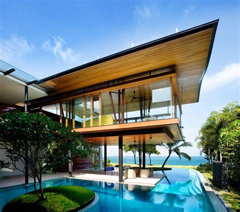 house pool seafront home in singapore with underwater media room