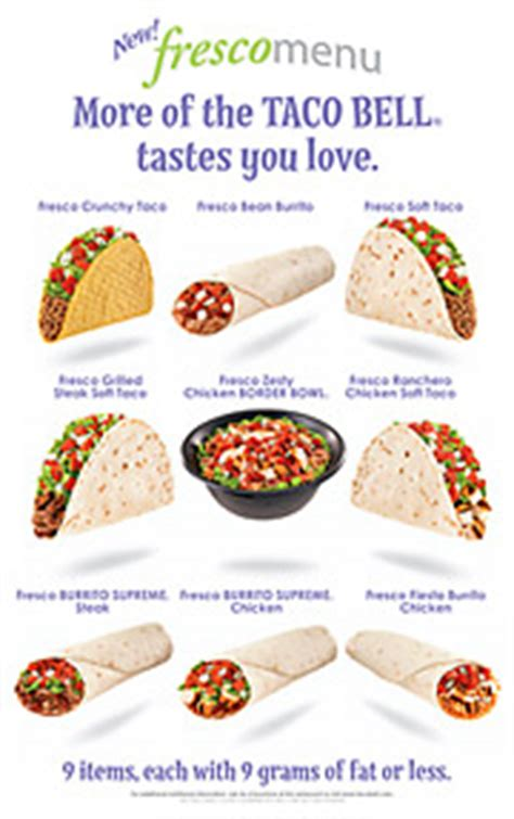 taco bell light menu taco bell starbucks trot out light offerings for