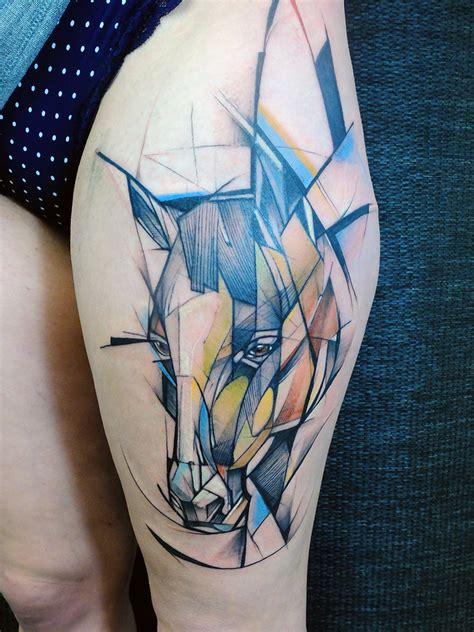 watercolor geometric tattoo watercolor on thigh
