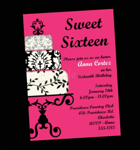 sweet 16 birthday invitation sweet sixteen party by