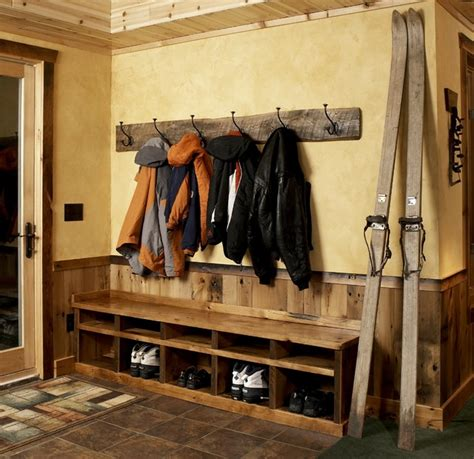 boot bench with coat rack meadowlark lane residence lower level 1 rustic entry minneapolis by mackmiller design build