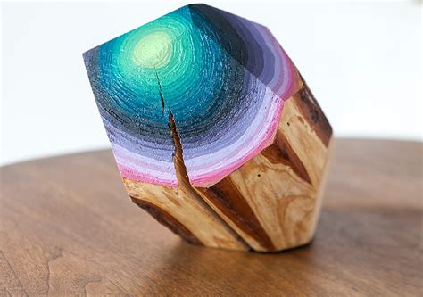 Painting Wood by Wood Blocks Carved And Painted Into Glimmering Gemlike