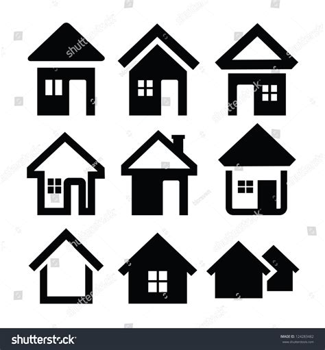 set houses drawings stock photo photo vector illustration vector black house icons set on stock vector 124283482