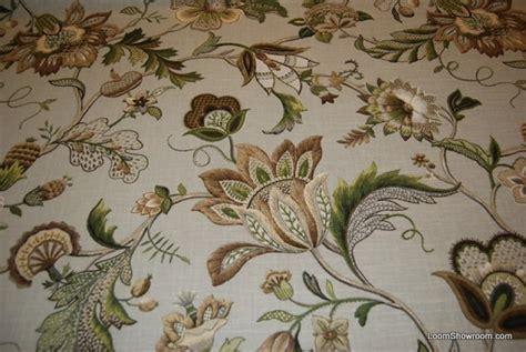 Pineapple Upholstery Fabric Crewel Style Printed Artwork Beautiful Floral Brissac