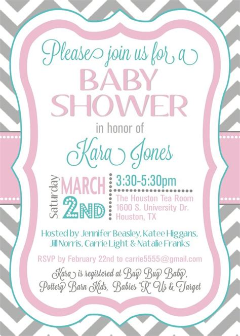 Items Similar To Custom Chevron Baby Shower Invitation Digital File On Etsy Digital Baby Shower Invitations Templates