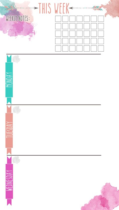 colorful printable weekly planner new insert alert colorful arrows wo2p the stitch maker