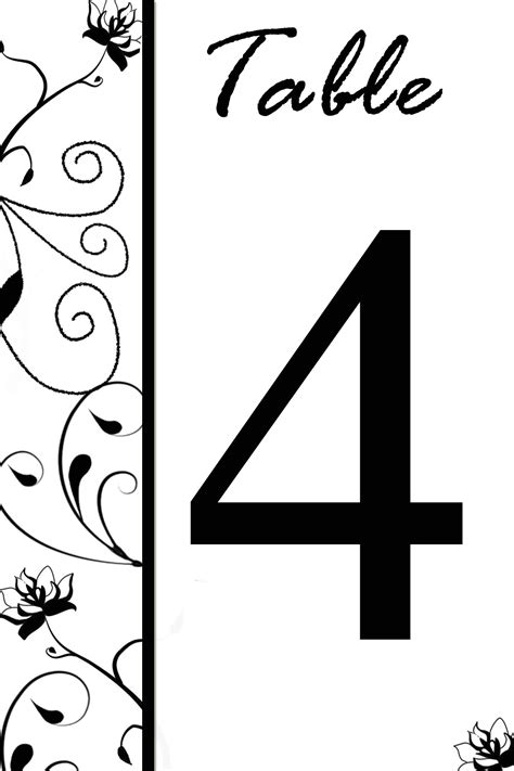 free printable table numbers for wedding party