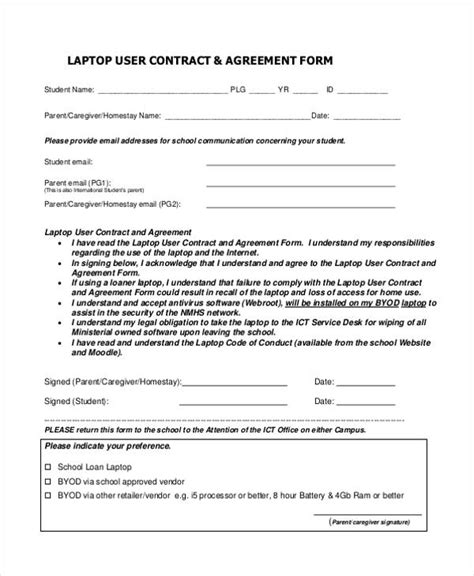 30 Sle Contract Agreement Forms Computer Use Agreement Template