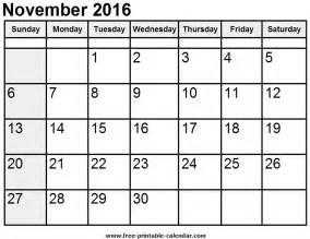 Calendar November 2016 Calendar Template Printable Calendar Calendar Free