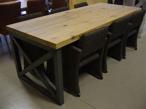 landelijke tafel zelf maken landelijke tafel zwart staal met eikenhout te boveldt