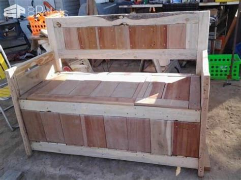 storage bench made from pallets diy pallet storage bench has two compartments 1001 pallets