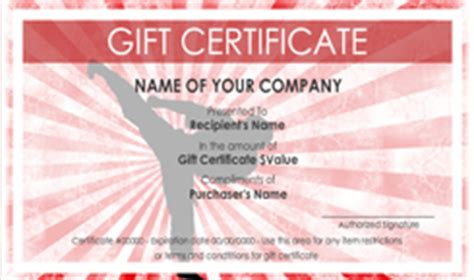 Martial Arts Instructor Gift Certificate Templates   Easy